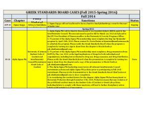 GREEK STANDARDS BOARD CASES (Fall 2015-Spring 2016) Fall 2014