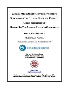 GREEN AND ENERGY EFFICIENT ROOFS SUBCOMMITTEE TO THE FLORIDA ENERGY CODE WORKGROUP