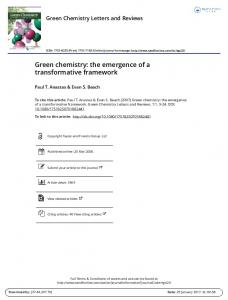 Green chemistry: the emergence of a transformative framework