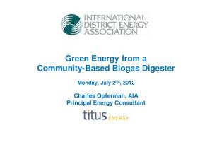 Green Energy from a Community-Based Biogas Digester