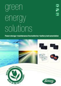 green energy solutions Power storage maintenance free batteries battery instrumentation