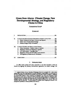 Green from Above: Climate Change, New Developmental Strategy, and Regulatory Choice in China