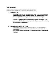 GREEN HOUSE GASSES (GHG) FRAMEWORK MANAGEMENT PLAN