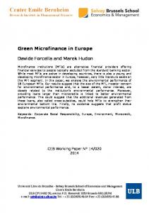 Green Microfinance in Europe