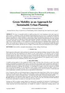 Green Mobility as an Approach for Sustainable Urban Planning