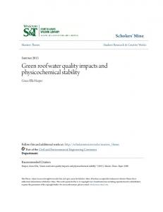 Green roof water quality impacts and physicochemical stability