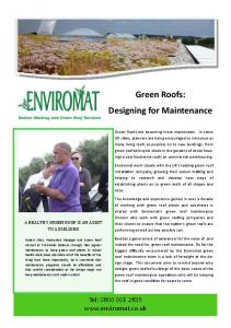Green Roofs: Designing for Maintenance