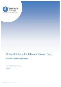 Green Solutions for Telecom Towers: Part II
