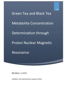 Green Tea and Black Tea. Metabolite Concentration. Determination through. Proton Nuclear Magnetic