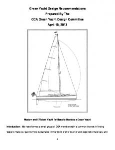 Green Yacht Design Recommendations Prepared By The CCA Green Yacht Design Committee April 15, 2013