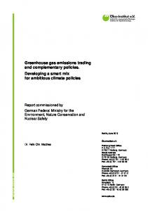 Greenhouse gas emissions trading and complementary policies. Developing a smart mix for ambitious climate policies