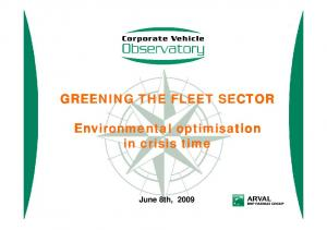 GREENING THE FLEET SECTOR. Environmental optimisation in crisis time