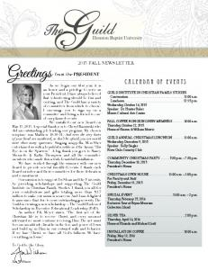 Greetings 2015 FALL NEWSLETTER. from the PRESIDENT