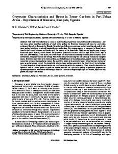 Greywater Characteristics and Reuse in Tower Gardens in Peri-Urban Areas Experiences of Kawaala, Kampala, Uganda