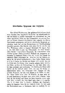 Griechisches Epigramm aus Aegypten