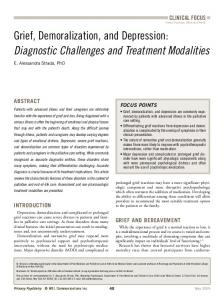 Grief, Demoralization, and Depression: Diagnostic Challenges and Treatment Modalities