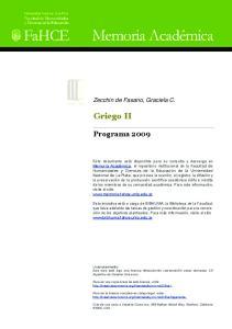 Griego II. Programa Zecchin de Fasano, Graciela C