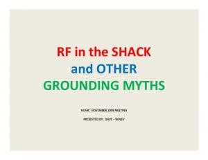 GROUNDING MYTHS NCARC NOVEMBER 2009 MEETING PRESENTED BY: DAVE W0LEV