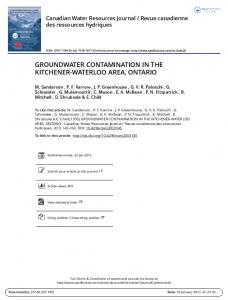 GROUNDWATER CONTAMINATION IN THE KITCHENER-WATERLOO AREA, ONTARIO