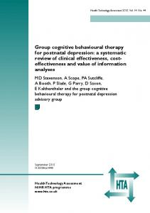 Group cognitive behavioural therapy for postnatal depression: a systematic review of clinical effectiveness, costeffectiveness