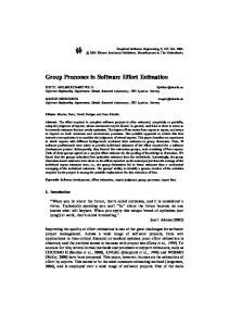 Group Processes in Software Effort Estimation