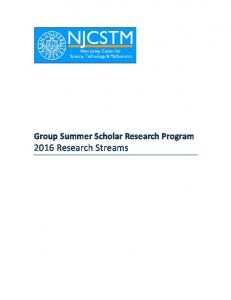 Group Summer Scholar Research Program 2016 Research Streams