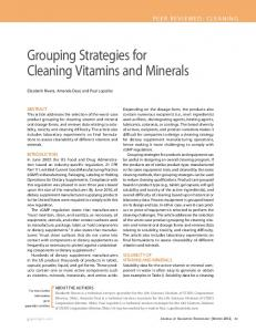 Grouping Strategies for Cleaning Vitamins and Minerals