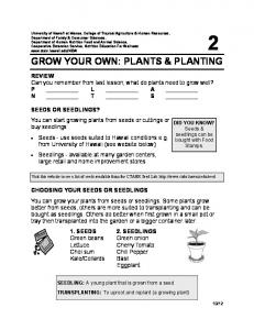 GROW YOUR OWN: PLANTS & PLANTING