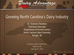 Growing North Carolina s Dairy Industry