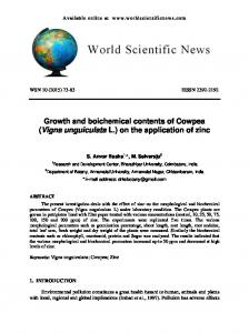 Growth and boichemical contents of Cowpea (Vigna unguiculata L.) on the application of zinc