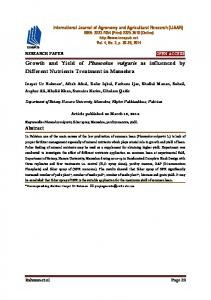 Growth and Yield of Phaseolus vulgaris as influenced by Different Nutrients Treatment in Mansehra