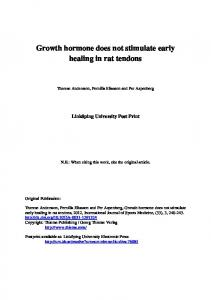 Growth hormone does not stimulate early healing in rat tendons