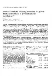 Growth hormone releasing hormone or growth hormone treatment in growth hormone