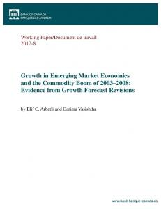 Growth in Emerging Market Economies and the Commodity Boom of : Evidence from Growth Forecast Revisions