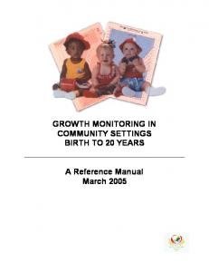 GROWTH MONITORING IN COMMUNITY SETTINGS BIRTH TO 20 YEARS