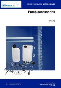 GRUNDFOS ALLDOS DATA BOOKLET. Pump accessories. Dosing