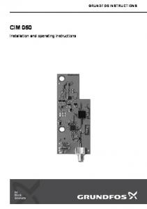GRUNDFOS INSTRUCTIONS CIM 060. Installation and operating instructions