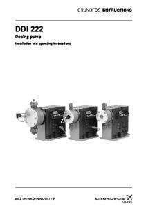 GRUNDFOS INSTRUCTIONS DDI 222. Dosing pump. Installation and operating instructions