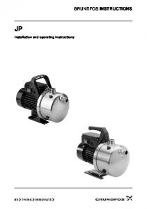 GRUNDFOS INSTRUCTIONS. Installation and operating instructions