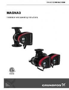 GRUNDFOS INSTRUCTIONS MAGNA3. Installation and operating instructions