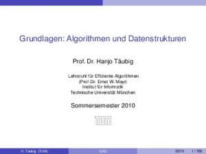 Grundlagen: Algorithmen und Datenstrukturen