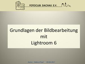 Grundlagen der Bildbearbeitung mit Lightroom 6