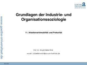 Grundlagen der Industrie- und Organisationssoziologie
