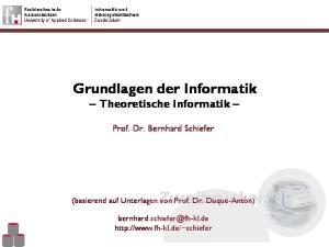 Grundlagen der Informatik Theoretische Informatik