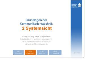 Grundlagen der Kommunikationstechnik 2 Systemsicht