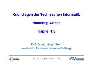 Grundlagen der Technischen Informatik. Hamming-Codes. Kapitel 4.3