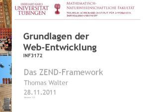 Grundlagen der Web-Entwicklung INF3172
