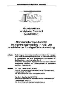 Grundpraktikum Analytische Chemie II (Modul BC 5.1)