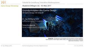 Grundprinzipien des Game Design 3D Game Design mit Unity3D