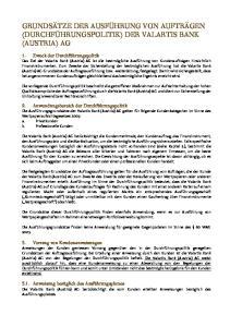 GRUNDSÄTZE DER AUSFÜHRUNG VON AUFTRÄGEN (DURCHFÜHRUNGSPOLITIK) DER VALARTIS BANK (AUSTRIA) AG